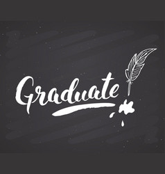 graduation lettering handwritten sign hand drawn vector image