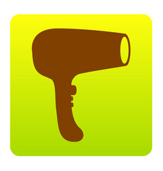 hair dryer sign brown icon at green vector image