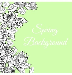 Hand-drawn flowers border vector