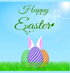 happy easter background at spring vector image