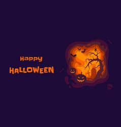 happy halloween banner pumpkin lantern on vector image
