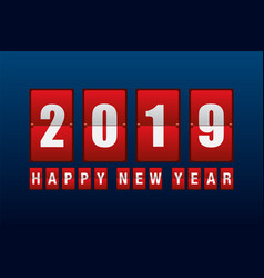 Happy new year 2019 with odometer number counter vector