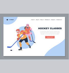 Ice hockey classes landing page template vector