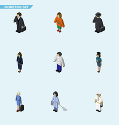 Isometric person set of hostess investor seaman vector