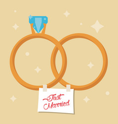 just married rings star background vector image