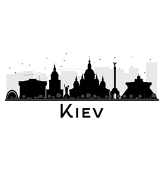 Kiev City skyline black and white silhouette vector image