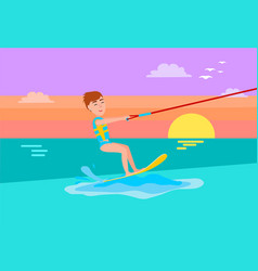 kitesurfing summer sport happy boy smile on face vector image