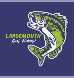 Largemouth bass fishing club logo in blue vector