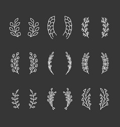 Laurel wreaths thin line icons vector