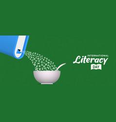 Literacy day banner book alphabet as cereal box vector