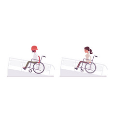 Male and female young wheelchair user on ramp vector