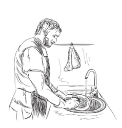 Man washes dishes Hand drawn sketch vector