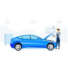 Mechanic servicing a car with a computer vector