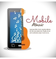 Mobile music smartphone guitar card note music vector