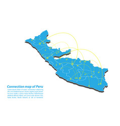 Modern of peru map connections network design vector