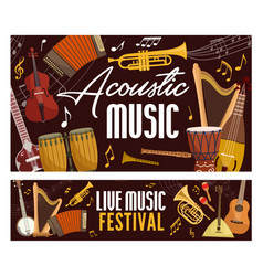 Music acoustic string and bow musical instruments vector