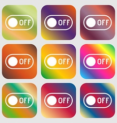off icon sign Nine buttons with bright gradients vector image