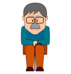 old man with glasses sitting on white background vector image