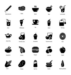 Organic food and drinks glyph icons pack vector