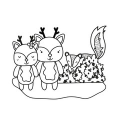 Outline deer couple animal and skunk with bush vector