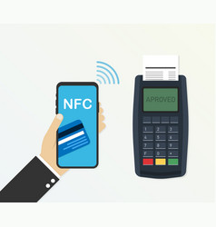 payment credit card using pos terminal and vector image