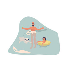 people at beach cartoon man with dog in water vector image