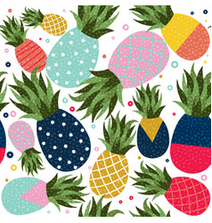 pineapple fruit color background pattern vector image