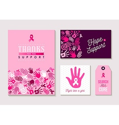 Pink breast cancer design set for awareness vector