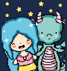 Pixel art girl and dragon vector