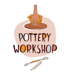 Pottery workshop traditional making hands vector