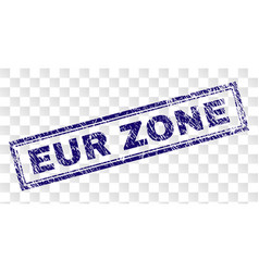 Scratched eur zone rectangle stamp vector