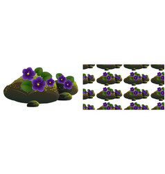 seamless background design with purple flowers on vector image