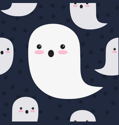 seamless pattern cute ghosts on black vector image