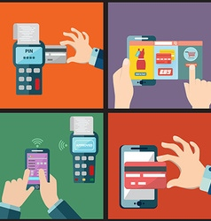 Set mobile payment via smartphone pay pass vector
