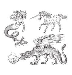 set mythological animals mermaid unicorn vector image