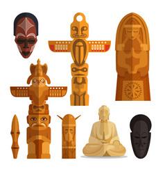 set of idols flat symbols isolated on white vector image