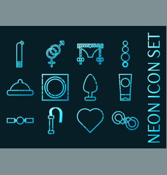 sex shop set icons blue glowing neon style vector image