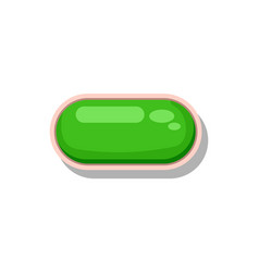 shiny green button for game menu interface vector image