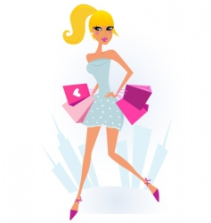 shopping girl in the city vector image