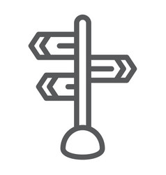 Signpost line icon direction and sign guidepost vector