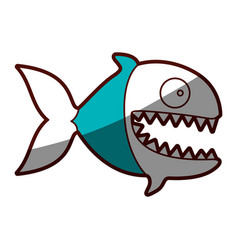 Silhouette color blue of piranha with big teeths vector