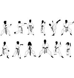 Silhouettes children karate vector