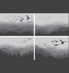 silhouettes of birds over mountains and forest vector image