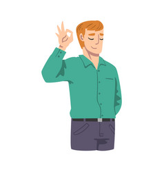Smiling male showing ok gesture as approval or vector