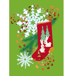 socks for gifts streamers and a snowflake on a gre vector image