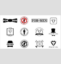 sticker-logo for men gentlemen club only for men vector image