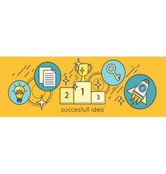 Successful Idea Banner in Flat Style Design vector image