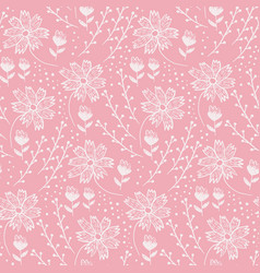 trendy coral floral pattern with flowers and herbs vector image