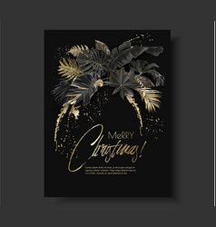 Tropical leaves black gold botany christmas card vector