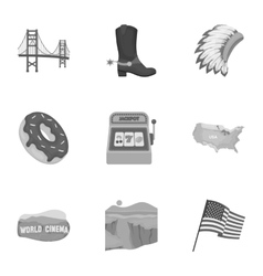 USA country set icons in monochrome style Big vector image